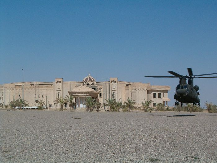 CH-47D Chinook helicopter 93-00933 hovering Saddem Hussein's old palace in Tikrit, Iraq.