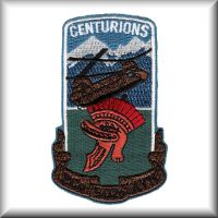 "Unit patch of E Company - ""Centurians"", 502nd Aviation Regiment, circa late 1980s."
